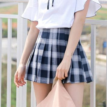 Harajuku Women Plaid Skirt Preppy Style Pleat Skirts Mini Cute School Uniforms Saia Faldas Ladies Jupe Kawaii Skirt SK6722