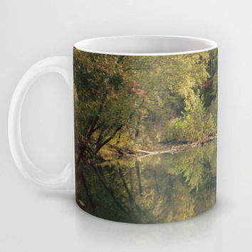 Art Coffee Cup Mug In the Woods 3 Photography home decor Java Lovers green trees brown scenic landscape nature earth tones pond reflection