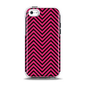 The Black & Pink Sharp Chevron Pattern Apple iPhone 5c Otterbox Symmetry Case Skin Set