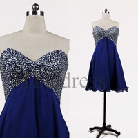 Custom Royal Blue Beaded Short Prom Dresses Bridesmaid Dresses 2014 Party Dress Formal Evening Gowns Cocktail Dresses Homecoming Dresses
