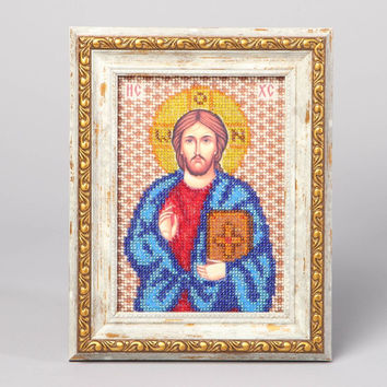 Handmade Jesus Christ icon embroidered with bead religious sacred decorated gift