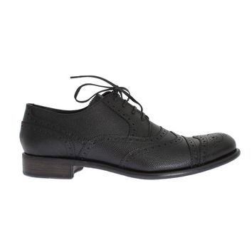 Dolce & Gabbana Black Leather Oxford Wingtip Shoes