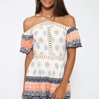 Kara Playsuit - Orange Print