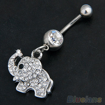"""Steel Rhinestone Elephant Dangle  Belly Button Ring """"FREE SHIPPING"""""""