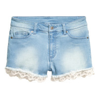 H&M Lace-trimmed Denim Shorts $34.99