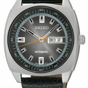 Seiko Mens Automatic Recraft Series - Stainless Steel - Black Leather Strap