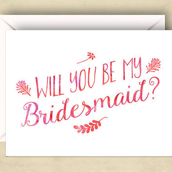 Will You Be My Bridesmaid Cards, Set of 5, 5.5 x 4.25 Inch (A2), Pink Watercolor, Wedding Cards, Bridal Party, Wedding Party