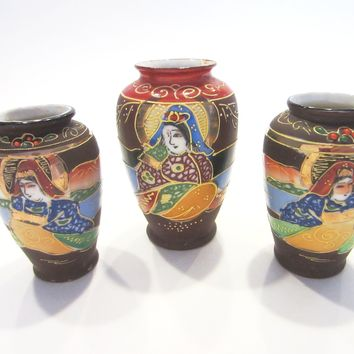 Japanese Vases Gilt Decorated Moriage Figurative Hand Painted Marked