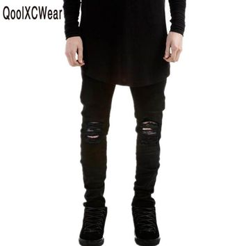 QoolXCWear  NEW Jeans Men Black Ripped Jeans Pants Brand Designer Distressed Denim Joggers Man Destroyed Jean Trousers