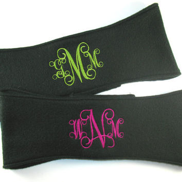 Monogrammed Fleece Headband Fleece Ear Warmer - Interlocking Intertwined