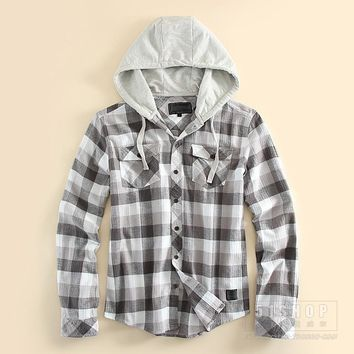 FLANNEL HOODIE Men's loose plaid hooded casual shirt male cotton