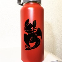 Toothless Night Fury Vinyl Decal for Hydro Flask Water Bottle | Choose Color