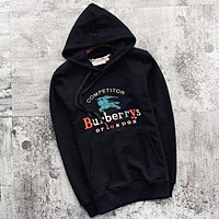 Burberry New fashion embroidery letter war horse couple hooded long sleeve sweater Black