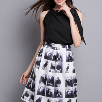 "Black Halter Ribbon Top and ""Marilyn Monroe"" Print Mid-Calf Straight Skirt"