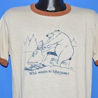 80s Bear Snowmobile Who Wants To Hibernate t-shirt Large