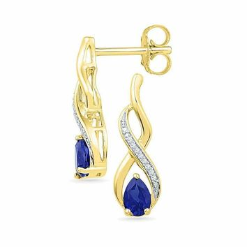 10kt Yellow Gold Women's Pear Lab-Created Blue Sapphire Diamond Stud Earrings 1-20 Cttw - FREE Shipping (US/CAN)