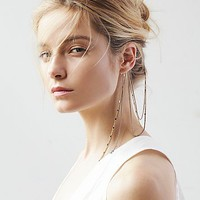 Free People Womens Draped Ear Cuff to Hair Chain