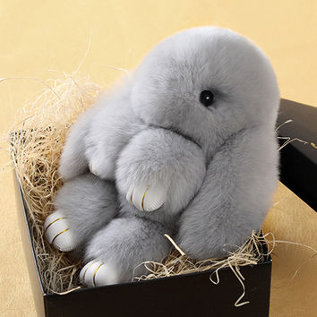 Soft Cute Simulation Rabbit Animal Fur Doll Plush Toy Stuffed Toys Kids Birthday Gift Doll Keychain Play Dead Rabbit L1382