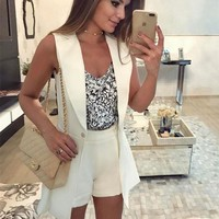 Women's Fashion Sleeveless Blazer Jacket [11218590215]