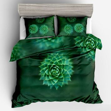 Green Succulents 3D Bedding Sets Duvet Cover Set Flower Plant Printed 3pcs Floral Bed Cover twin full queen King Home textile