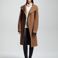 Brushed Twill Coat, Ribbed Turtleneck Sweater & Stretch-Leather Leggings