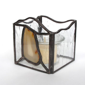 Stone Agate Stained Glass Candle Holder - Sand Colored Agate and Clear Glass Candle Lantern - Handmade Home Decor