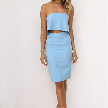 Buy Edelle Set - Sky Blue Online by SABO SKIRT