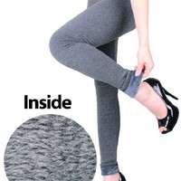 LeggingsQueen Winter Faux Mink Fur Basic Leggings - Charcoal