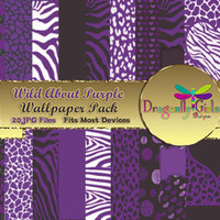 80% OFF Sale WILD About Purple Digital Wallpapers for Mobile Devices, Instant Download, Zebra Leopard Animal Print