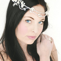 My Delicate Ingrid bridal crown - Bohemian halo with flowers, crystals and pearls
