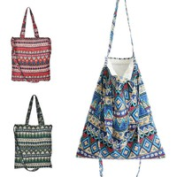 JETTING Summer Beach Bag Boho Open Linen Cotton Bohemia Shoulder Messenger Bag Ethnic Geometric Women Shopping Handbag