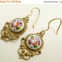 Vintage Russian Finift Enamel Earrings