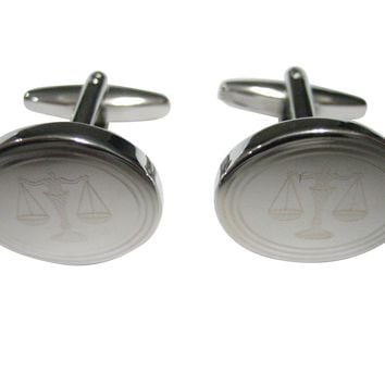 Silver Toned Etched Scale of Justice Law Oval Cufflinks
