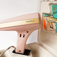 MOULINEX Vintage Hair Dryer 1970s Space Age Design Hairdryer Pink Gold Rare Retro Styling Working Blow Dryer Beauty Salon 1960s WITH BOX