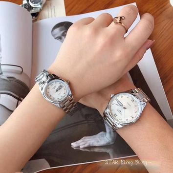 KUYOU L048 Longines Noctilucent Butterfly Buttom Steel Watchand Lovers Watch White