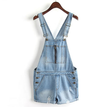Summer Casual Ripped Holes Denim Shorts Romper [6332323972]