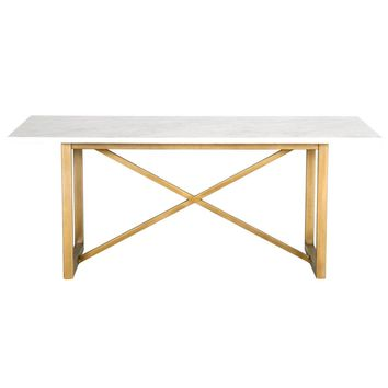 Carrera Dining Table White Marble / Brushed Gold