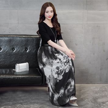 2015 Spring Summer Casual Dress Slim Print Dress two piece dress