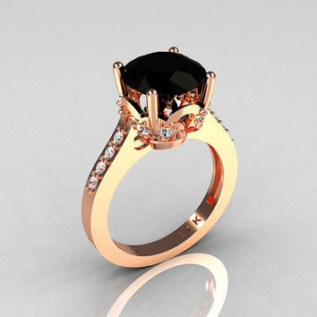 Classic 14K Rose Gold 3.0 Carat Black Diamond Solitaire Wedding Ring R301-14KRGDBD