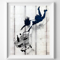 Banksy Print, Shop Until You Drop, Street Graffiti Art, Urban Artist, Stencil Art, Street Art, Home Decor, Valentines Day Gift
