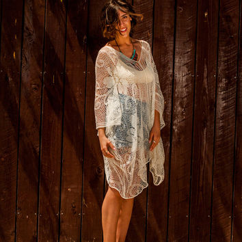 Midi Lace tunic with V neckline, lace tunic with wide sleeves, v back lace tunic