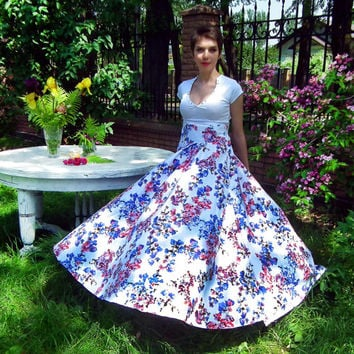 Maxi Skirt , Circle skirt, Full skirt, Long Floral Skirt, Floor length skirt, High Waisted Skirt, Plus Size Maxi Skirt, Plus Size Maxi Dress