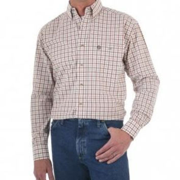 Wrangler Men's Long Sleeve George Strait Cowboy Cut Rust Plaid Button-Down Western Shirt MGS408M