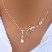 Branch and Pearl necklace in silver. Bridal. Wedding. Bridesmaids Gift.