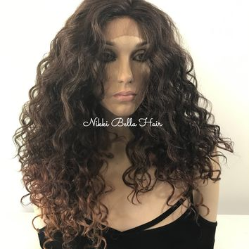 "Naturally Curly Ombré 4x4 SILK BASE Lace front wig 22"" 5173"
