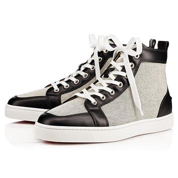 Christian Louboutin Cl Rantus Mens Flat Black/black Cotton 10s Sneakers
