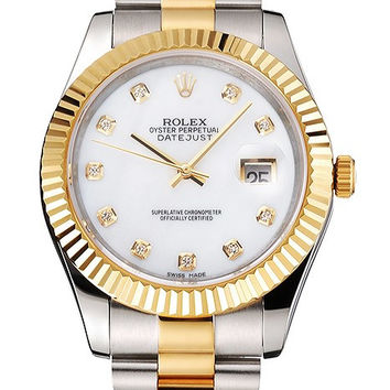 Swiss Rolex Datejust White Dial Diamond Hour Marks Gold Bezel Stainless Steel Case Two Tone Bracelet