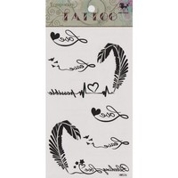 """MagicPieces Temporary Tattoo Fake Tattoo Waterproof Non-toxic Tattoo Sticker with Black Loving Heart From Feather Pattern Size 3.06""""X5.13"""""""