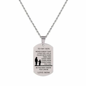 Sentiment Tag Necklace - TO SON FROM MOM