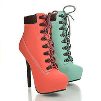 Tyrant Military Lace Up Ankle Stiletto Platform High Heel Bootie